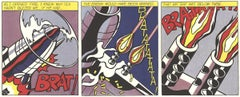 """Roy Lichtenstein - As I Opened Fire (Triptych) - 1966 Offset Lithograph 25""""x 62"""""""