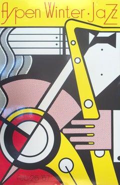 """Roy Lichtenstein-Aspen Jazz-40"""" x 26""""-Serigraph-1967-Pop Art-Yellow, Red, Black"""