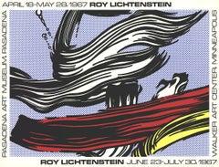"""Roy Lichtenstein-Brushstrokes at Pasadena Art Museum-25"""" x 33""""-Serigraph-1967"""