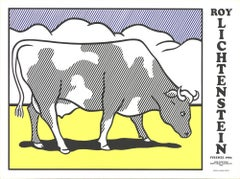 """Roy Lichtenstein-Cow Going Abstract Triptych-26"""" x 35""""-Serigraph-1982-Pop Art"""