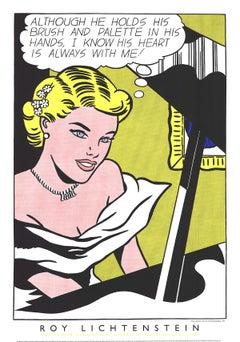 "Roy Lichtenstein-Girl at the Piano-54"" x 38""-Serigraph-1994-Pop Art-Yellow"
