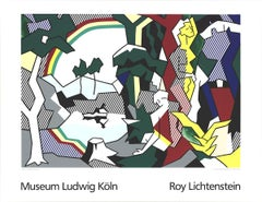 "Roy Lichtenstein-Landscape With Figures and Rainbow Lg-39.25"" x 51""-Serigraph"
