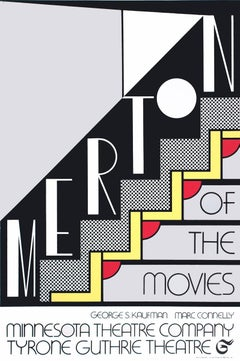"""Roy Lichtenstein-Merton of The Movies-30"""" x 20""""-Foil Print-1968-Pop Art-Black"""