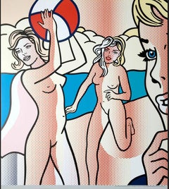 "Roy Lichtenstein - ""Nudes with Beachball"" - Unique Color Offset Lithograph"