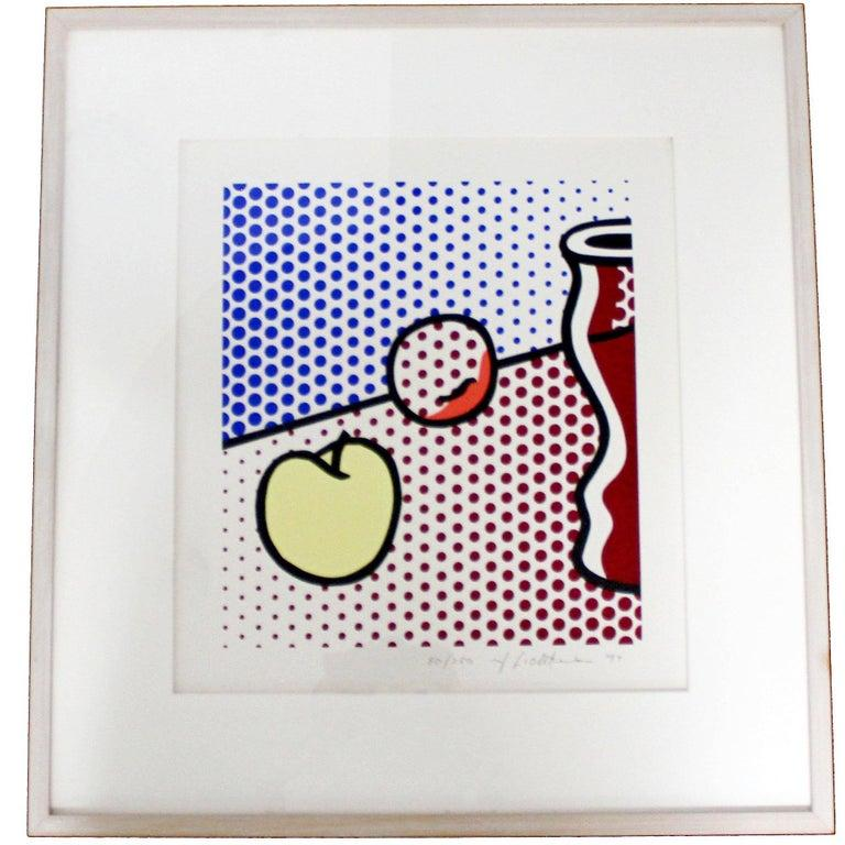 Created in 1994, Roy Lichtenstein's Still Life with a Red Jar is comprised of screenprint in colors on Lanaquarelle watercolor paper. In terms of size, this piece is I. 15 x 13 in., S. 21.5 x 19.3 in. Still Life with a Red Jar borrows classical art