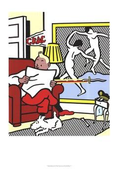 """After Roy Lichtenstein-Tintin Reading-39"""" x 27.5""""-Poster-1995"""