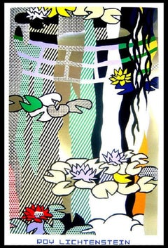 """Roy Lichtenstein - """"Waterlilies with Japanese Bridge"""" - unique lithograph"""
