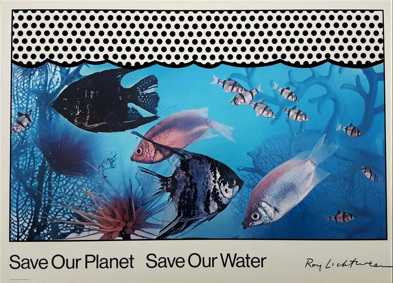 Roy Lichtenstein Animal Print - Save Our Planet Save Our Water