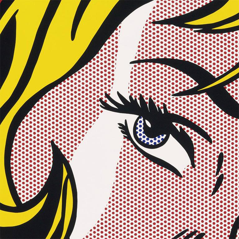 screenprint on Arches wove paper 66 x 56 in. / 168 x 142 cm. Frame 70H x 60W x 3D in. / 178H x 152.5W x 7.5D cm.  This dramatic large-scale screen print reproduces Roy Lichtenstein's iconic pop painting Girl with Hair Ribbon, now in the collection