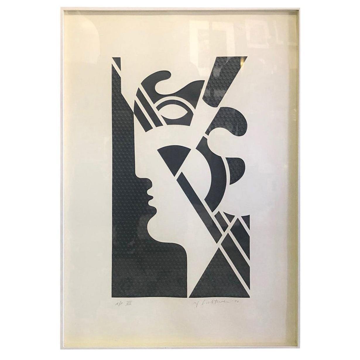 Roy Lichtenstein Signed Embossed Graphite Limited Print Modern Head #5, 1970