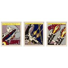 "Roy Lichtenstein Signed Triptych ""As I Opened Fire"" Prints, Stedelijk Museum"