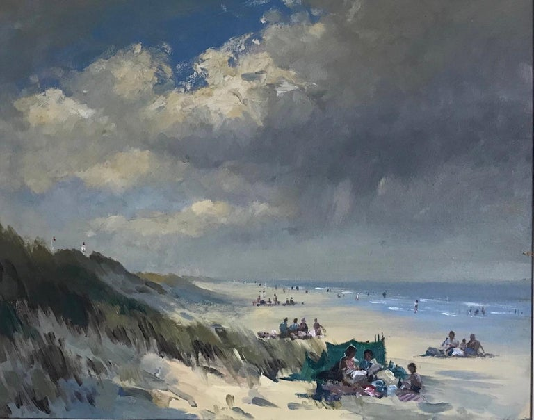 BANK HOLIDAY PASSING STORM  Roy Petley 1950 renowned Contempary British artist  - Impressionist Painting by Roy Petley