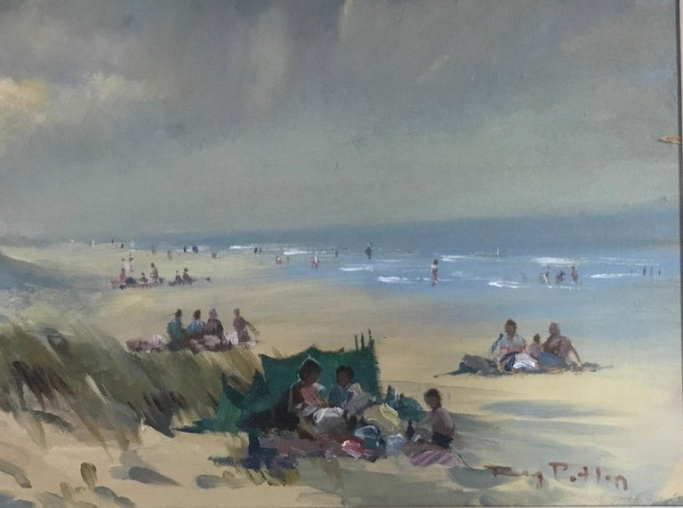 BANK HOLIDAY PASSING STORM  Roy Petley 1950 renowned Contempary British artist  - Gray Landscape Painting by Roy Petley