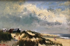 Beach huts on the dunes, impressionist beach scene