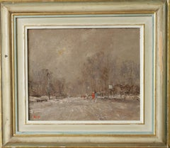 DECEMBER SNOW HYDE PARK..Roy Petley contemporary English artist