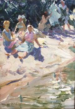 Gipsy picnic by the banks of the Dordogne river, impressionist landscape