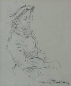 Girl in a Hat - Late 20th Century Figurative Sketch by Roy Petley
