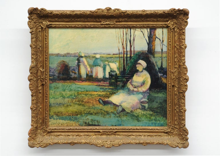Late 20th Century Roy Purdy Oil Painting Woman in Landscape