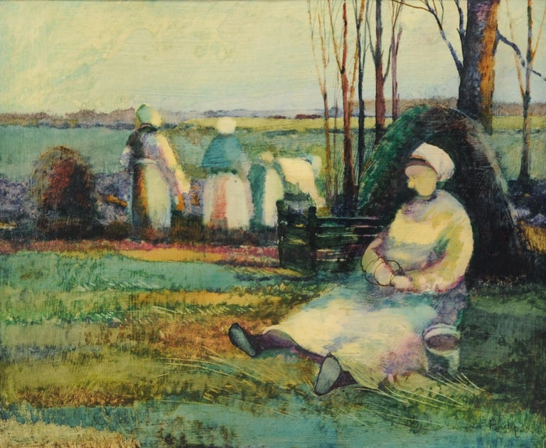 Wood Roy Purdy Oil Painting Woman in Landscape