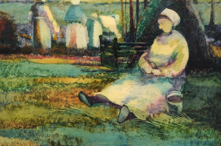 Roy Purdy Oil Painting Woman in Landscape 1