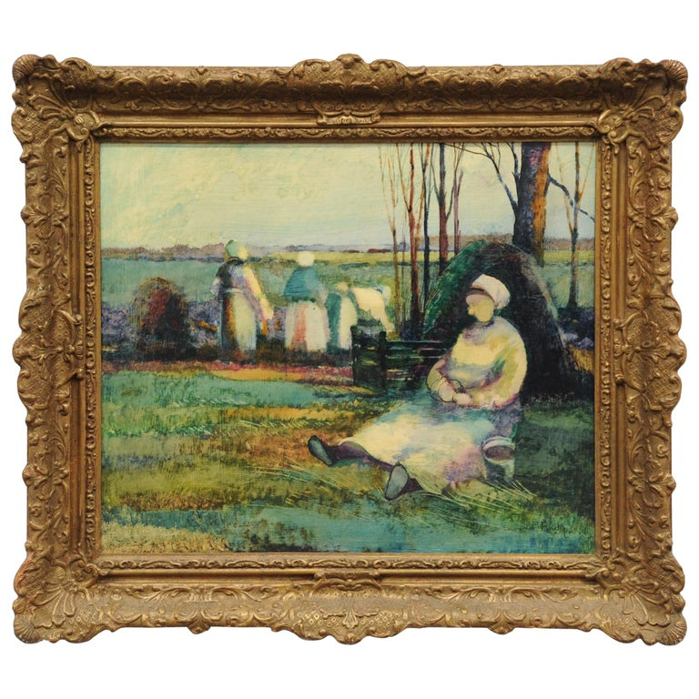 Roy Purdy Oil Painting Woman in Landscape