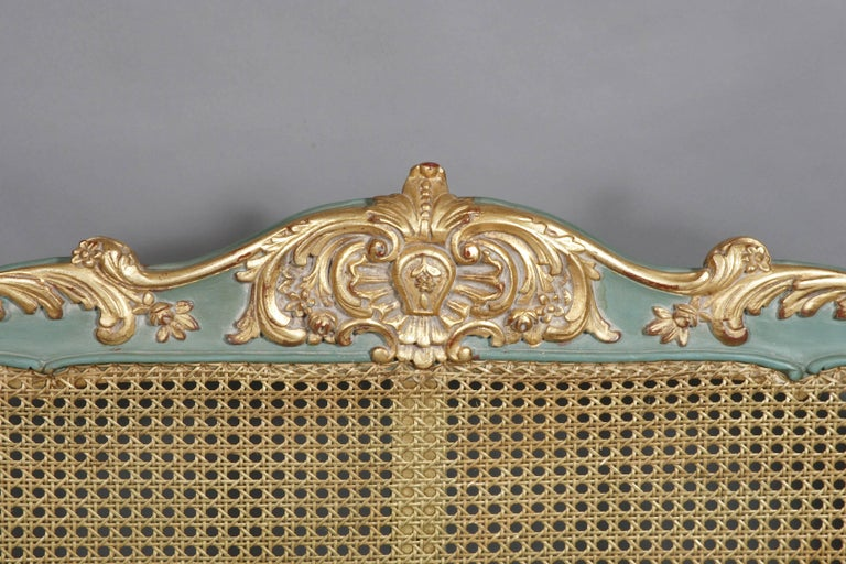 Beech Royal Bed with Wickerwork in the Louis Quinze Style