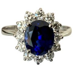 Royal Blue 2.02 Carat Madagascar Sapphire and Diamond Ring 18k GIA Certified