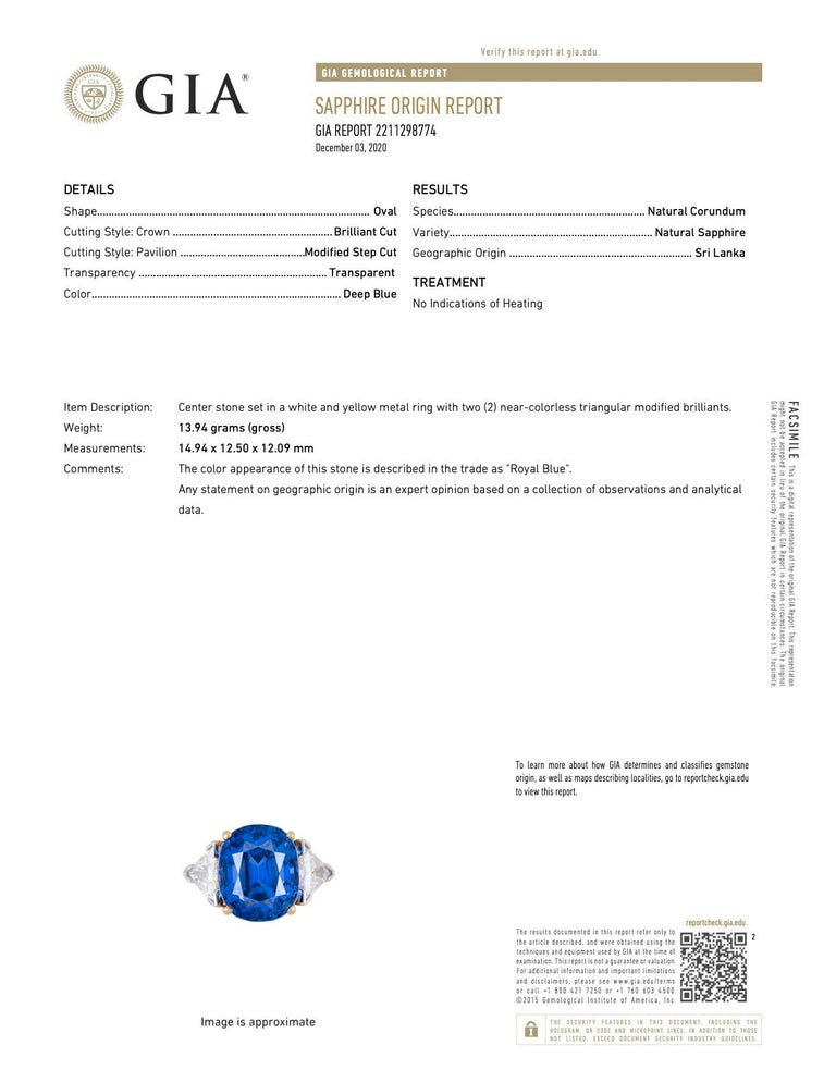 Royal Blue 22.66 Carats No Heat Ceylon Sapphire Diamond Platinum Ring Gubelin For Sale 7