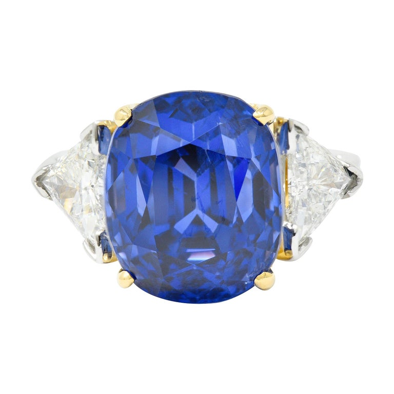 Royal Blue 22.66 Carats No Heat Ceylon Sapphire Diamond Platinum Ring Gubelin For Sale