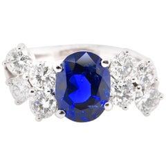 Royal Blue 2.36 Carat Untreated Burmese Sapphire & Diamond Ring Set in Platinum