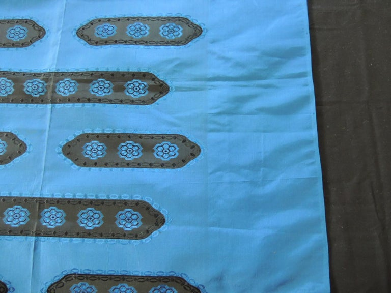 19th Century Royal Blue and Black Antique Woven Silk French Textile Panel For Sale