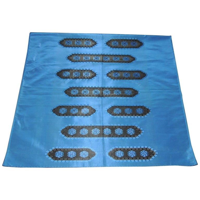 Royal Blue and Black Antique Woven Silk French Textile Panel For Sale