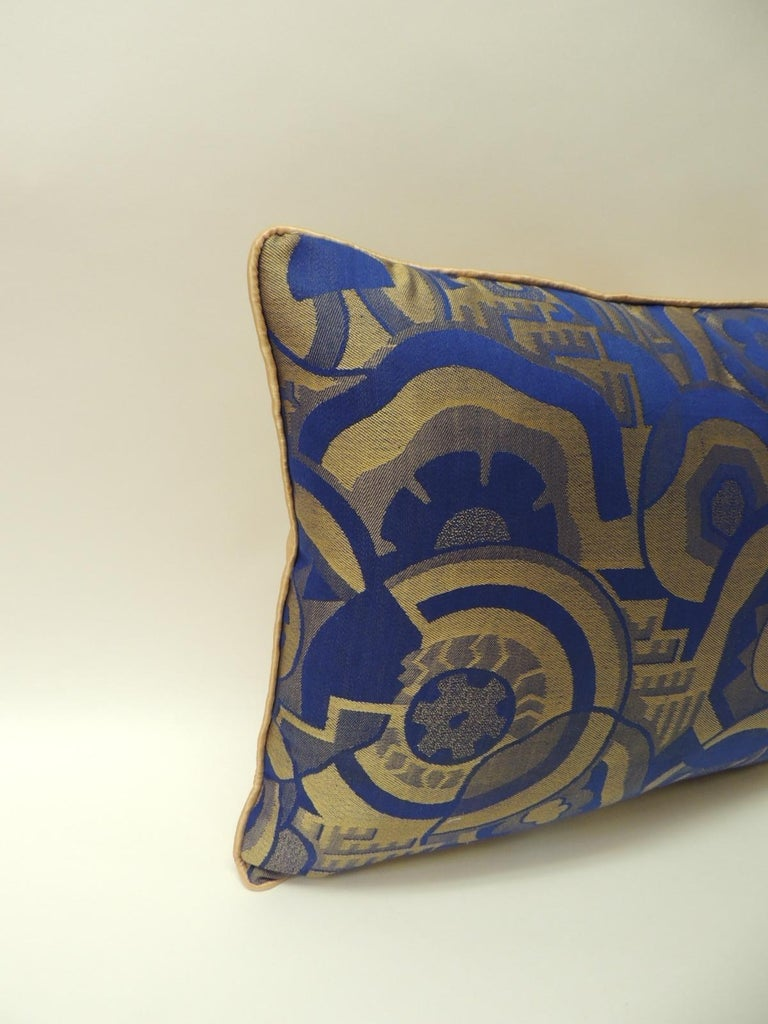 Hand-Crafted Royal Blue and Gold French Woven Silk Brocade Bolster Pillows For Sale