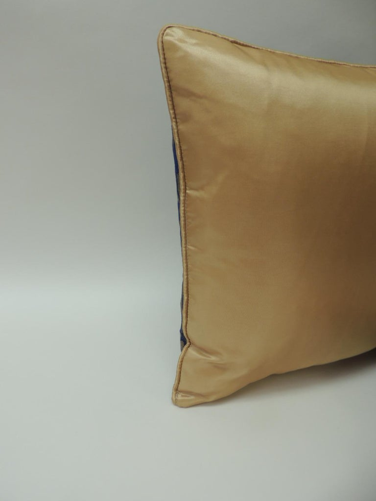Mid-20th Century Royal Blue and Gold French Woven Silk Brocade Bolster Pillows For Sale