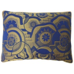 Royal Blue and Gold French Woven Silk Brocade Bolster Pillows