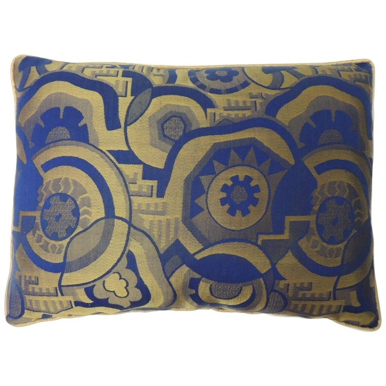 Royal Blue and Gold French Woven Silk Brocade Bolster Pillows For Sale