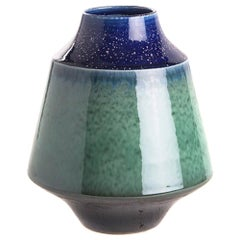 Royal Blue and Jade Squat Shaped Vase, China, Contemporary
