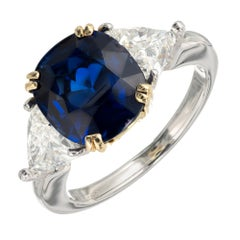 Royal Blue Cushion Sapphire Diamond Gold Platinum Engagement Ring
