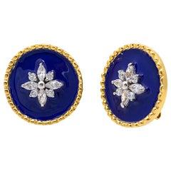 Royal Blue Enamel Flower Round Disc Sterling Silver Earrings