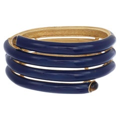 Royal Blue Enameled Coil Clamper with Tiger's Eye Cabochons