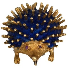 Royal Blue Enameled, Hedgehog Ruby Pin, Hallmarked, CG, 750 Gold