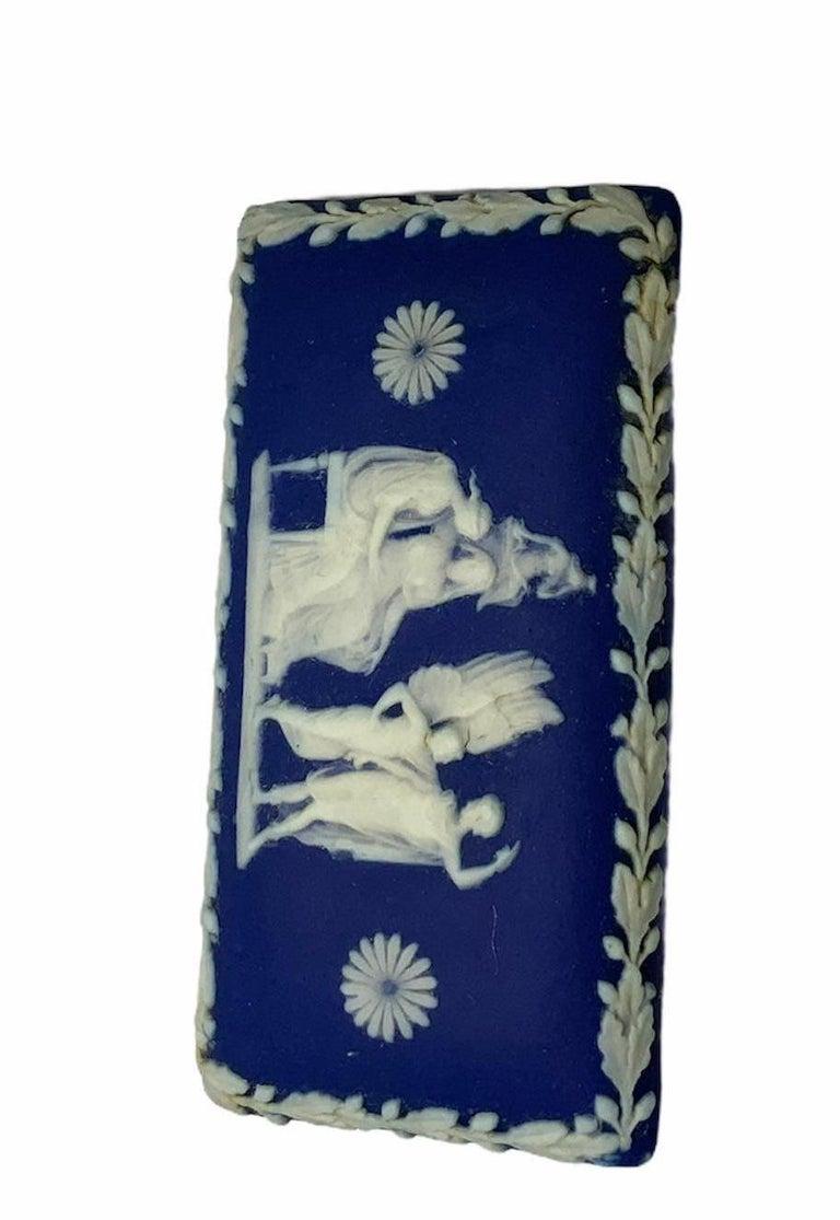 Royal Blue Jasperware Trinket Box For Sale 2