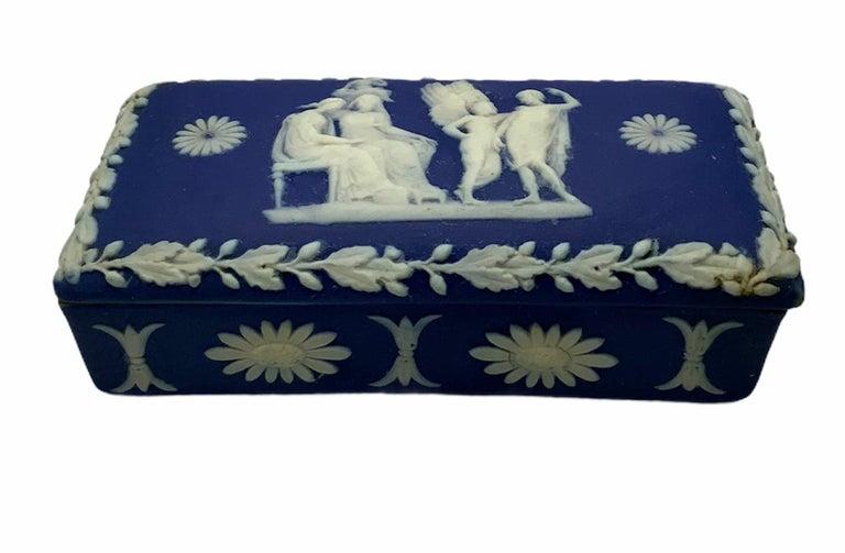 Royal Blue Jasperware Trinket Box For Sale 3