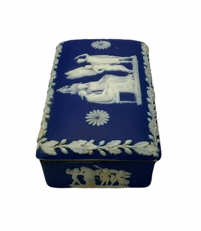 Neoclassical Royal Blue Jasperware Trinket Box For Sale