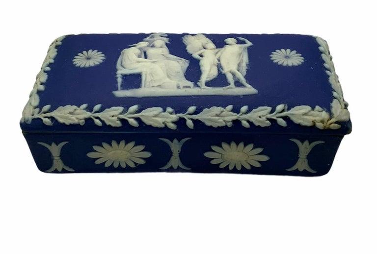 English Royal Blue Jasperware Trinket Box For Sale