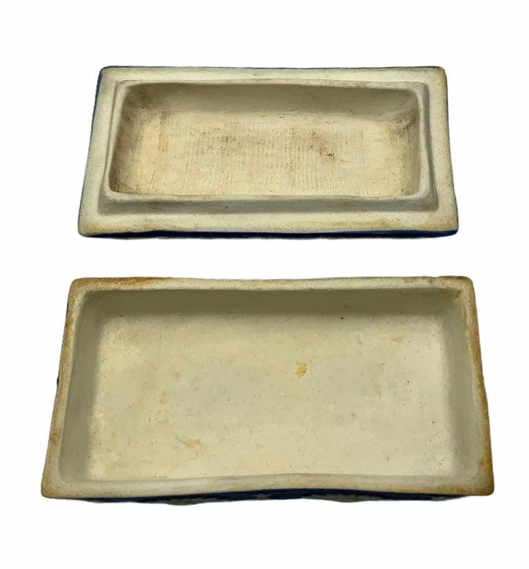 Molded Royal Blue Jasperware Trinket Box For Sale