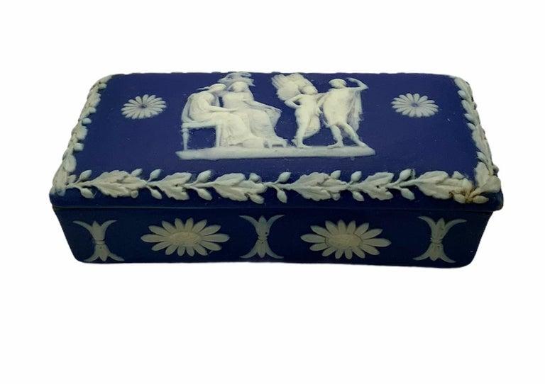Royal Blue Jasperware Trinket Box For Sale 1