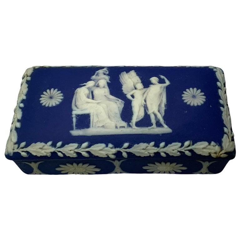 Royal Blue Jasperware Trinket Box For Sale
