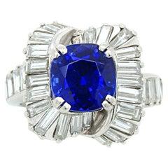 Royal Blue Kashmir Sapphire Mauboussin Ring, circa 1958