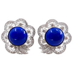Royal Blue Lapis Lazuli and Diamond Earrings, Gold Spots, Excellent Workmanship